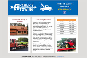 Archers Towing website Davidson NC