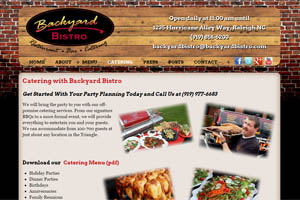 Backyard Bistro website Raleigh NC