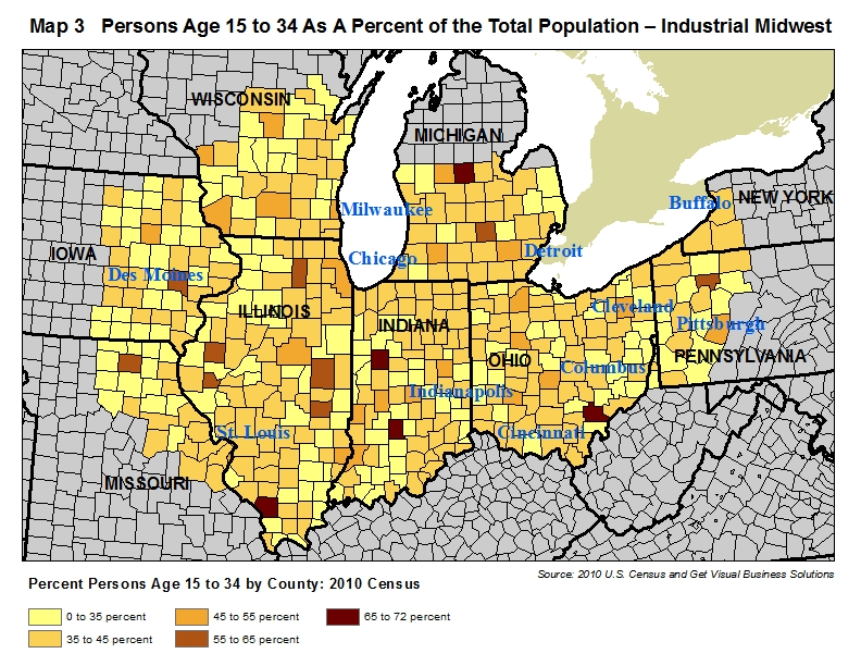 map of percentage of persons age 15 to 34 in the industrial midwest